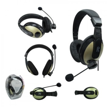 AVF HM688 FULL COVER HEADSET WITH MIC GOLD