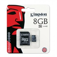 KINGSTON 8GB MICRO SD CARD WITH ADAPTER CLASS 4